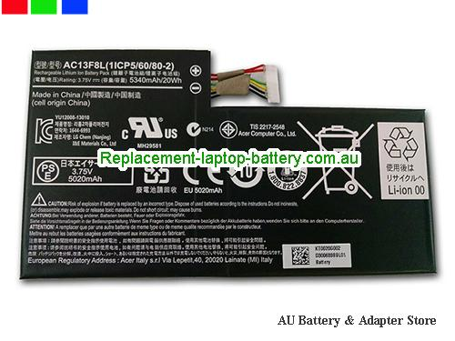 ACER Iconia A1-810 Battery 5340mAh, 20Wh  3.75V Balck Li-ion
