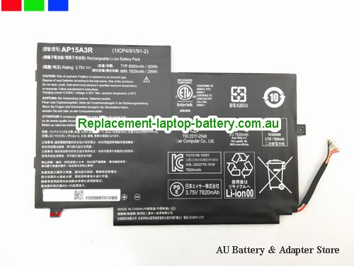 ACER AP15A3R Battery 8060mAh, 30Wh  3.75V Black Li-ion