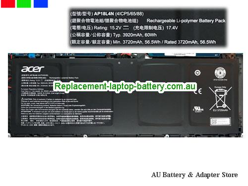 AU Genuine Acer AP18L4N Battery Rechargeable 4ICP5/65/88 Li-Polymer 60Wh 15.2v