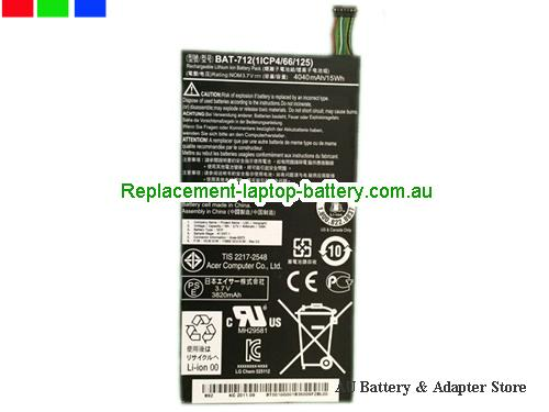 AU Genuine ACER Tablet type 1S1P BAT-712 battery