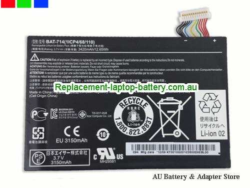 AU Battery for Acer Iconia Tab A110 Tablet Battery BAT-714 KT0010G001