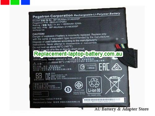 ACER 0B23-011F0RV Battery 4630mAh, 52Wh  11.4V Black Li-Polymer