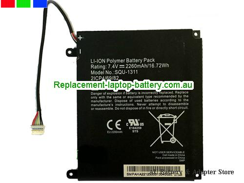 AU Original Laptop Battery for  ACER 2ICP4/69/82, SQU1311, SQU-1311,  Black, 2260mAh, 16Wh  7.4V