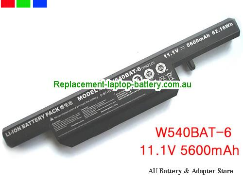 CLEVO W540BAT-6 Battery 5600mAh, 62.16Wh  11.1V Black Li-ion