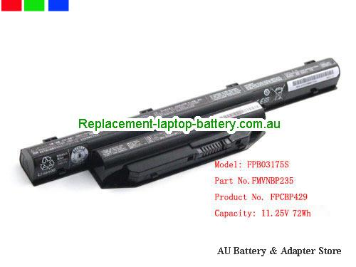 FUJITSU LifeBook A544 (M7501GB) Battery 72Wh 11.25V Black Li-lion