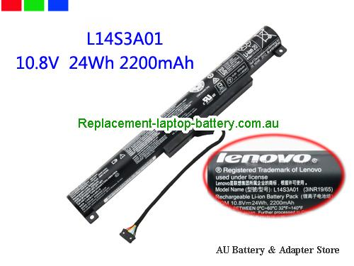 AU Lenovo L14S3A01 Battery For Ideapad 100-15IBY Series 24wh