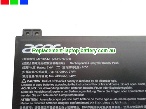 image 2 for Au online offer ACER AP16K4J Battery li-ion 37wh 4860mah 7.6V Black
