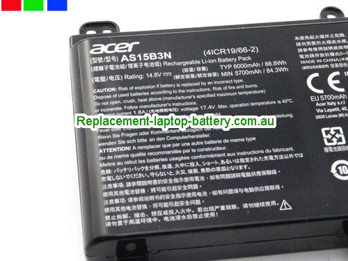 image 4 for Au online offer Genuine Acer AS15B3N Battery For Predator 15 17 Series Laptop 88.8Wh Black